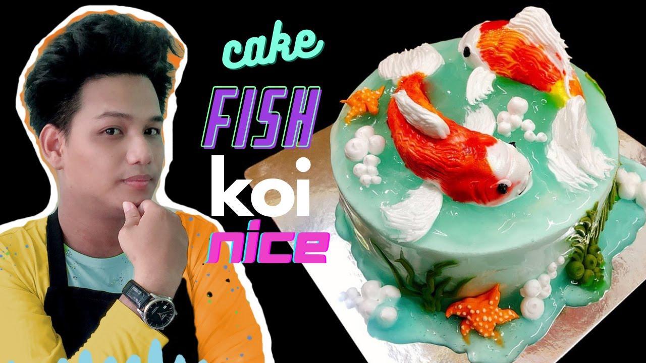Cake decoration Koi fish art Japan - bánh sinh nhật hình cá koi đẹp 2020 ( 597 )