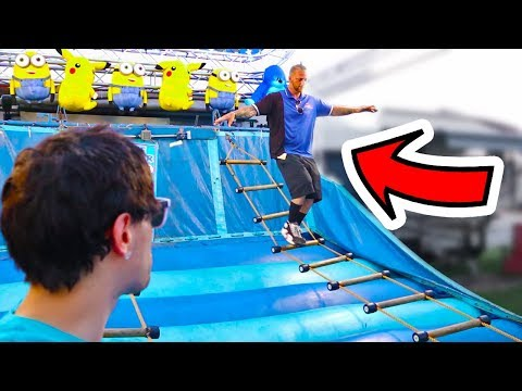 Carnival Guy Climbs Ladder Game Backwards!! Amazing Carnival Games and Epic Wins!