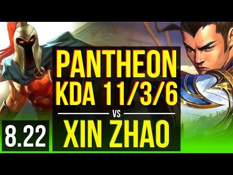 PANTHEON vs XIN ZHAO (JUNGLE) | 2 early solo kills, KDA 11/3/6 | Korea Challenger | v8.22