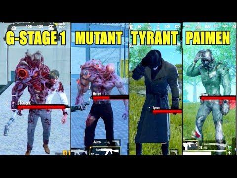 PUBG Mobile All Zombie Boss Comparison Update 0.13.0 (Tyrant, G-stage 1, Paimen & Mutant)