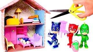 PJ MASKS 🏠 Decoramos la casa de cartón para los Heroes en Pijama