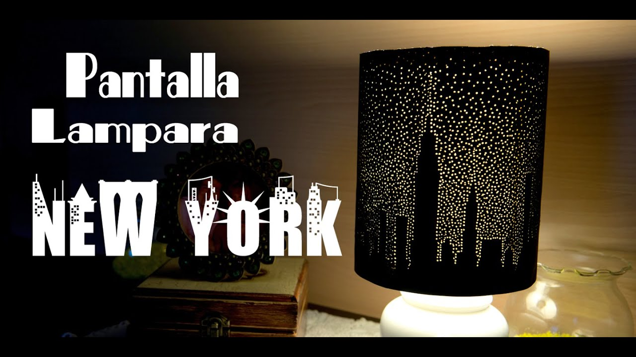 Pantalla de lampara new york estrellado de papel bellisimo y facil youtube - Decorar pantalla de lampara ...