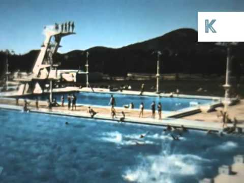 1950s, 1960s Canberra, Olympic Swimming Pool Lido, Australia Archive Footage