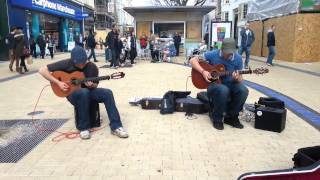 showhawk duo busking on broadmead bristol