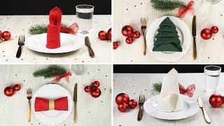 Servietten falten für Weihnachten - einfache Deko Ideen für einen festlichen Tisch