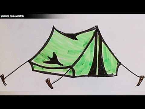 How to draw a tent & How to draw a tent - YouTube