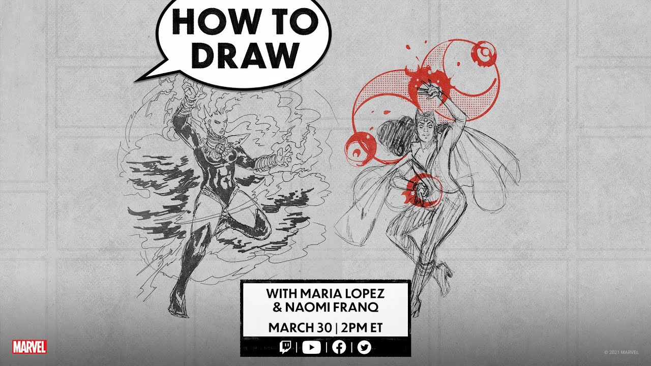 How to Draw Scarlet Witch and Storm LIVE!