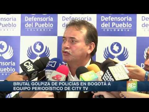 Brutal golpiza de policías en Bogotá a equipo periodístico de Citytv
