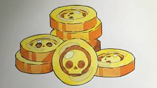How To Draw Brawl Stars Gold Coins | Brawls Stars Altın Nasıl çizilir