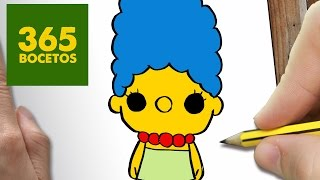 COMO DIBUJAR MARGE SIMPSON KAWAII PASO A PASO - Dibujos kawaii faciles - How to draw a Marge Simpson