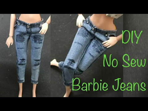 DIY Barbie Jeans No Sew Tutorial