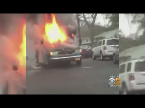 Terrifying Moments As Long Island School Bus Bursts Into Flames