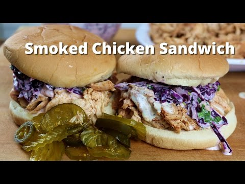 Smoked Chicken Sandwich | Pulled BBQ Chicken Recipe on Ole Hickory Pit