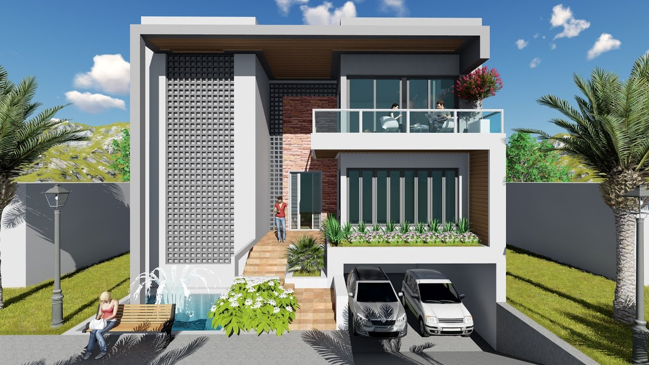 Front Elevation Set Design : How to draft front villa design using sketchup and lumion