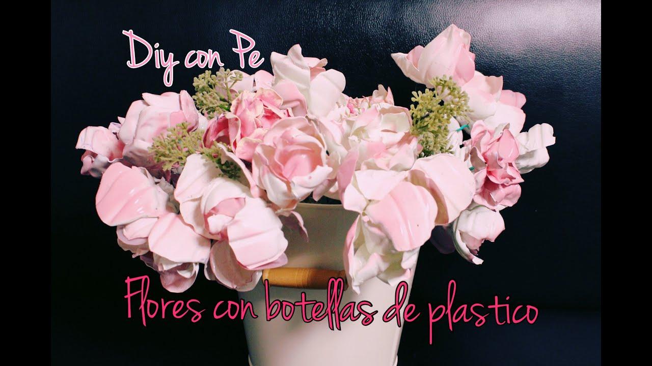 Flores con botellas de pl stico diy con pe youtube - Flores de plastico ...