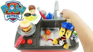 clean dishes in sink with Paw Patrol