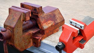 Vise restoration of an old rusty vise, make alu vise jaws on cnc router Schraubstock restaurieren