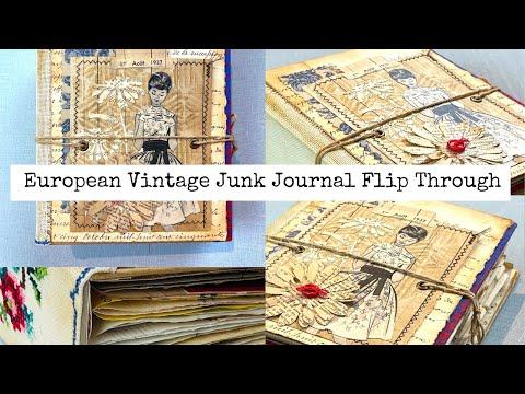 European Vintage Junk Journal Flip Through No Talking
