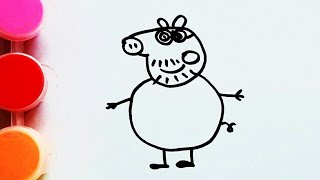 Рисуем Папу Свина. Картинка раскраска. Рисуем с детьми легкие рисунки.