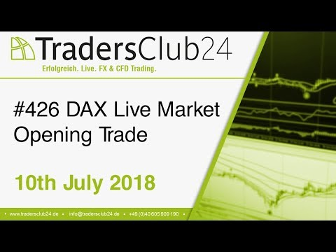 TradersClub24 Dax Open Range Breakout Live Trade 10th July 2018 (Daytrading / Forex / Dax)