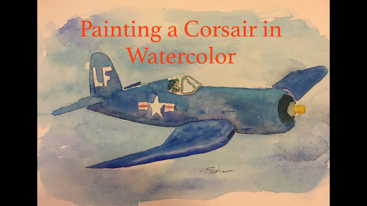 How to Paint a Navy Corsair in Watercolour Watercolor Airplane plane  Tutorial Flying