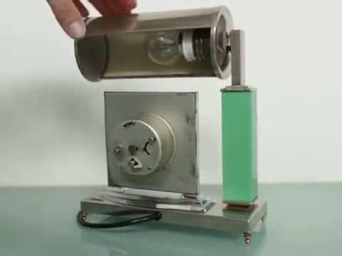 KIENZLE CLOCK PLUS LAMP  Art Deco Chrome Germany Antique 1920s Mantel Shelf Table