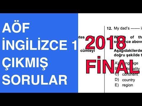 AÖF İngilizce 1 Final - 2017-2018 Güz Çıkmış Soru Çözümleri