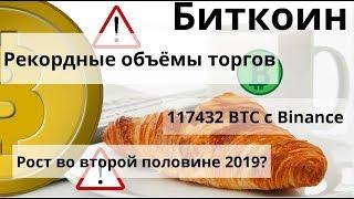 Биткоин. Рекордные объёмы торгов. 117432 BTC c Binance. Рост во второй половине 2019?