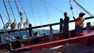HMB Endeavour in rough seas