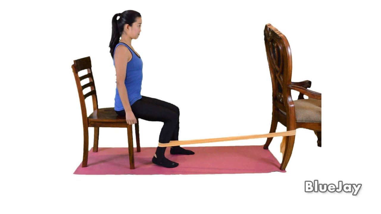341 Hamstring Thera Band Strengthening on Chair - YouTube