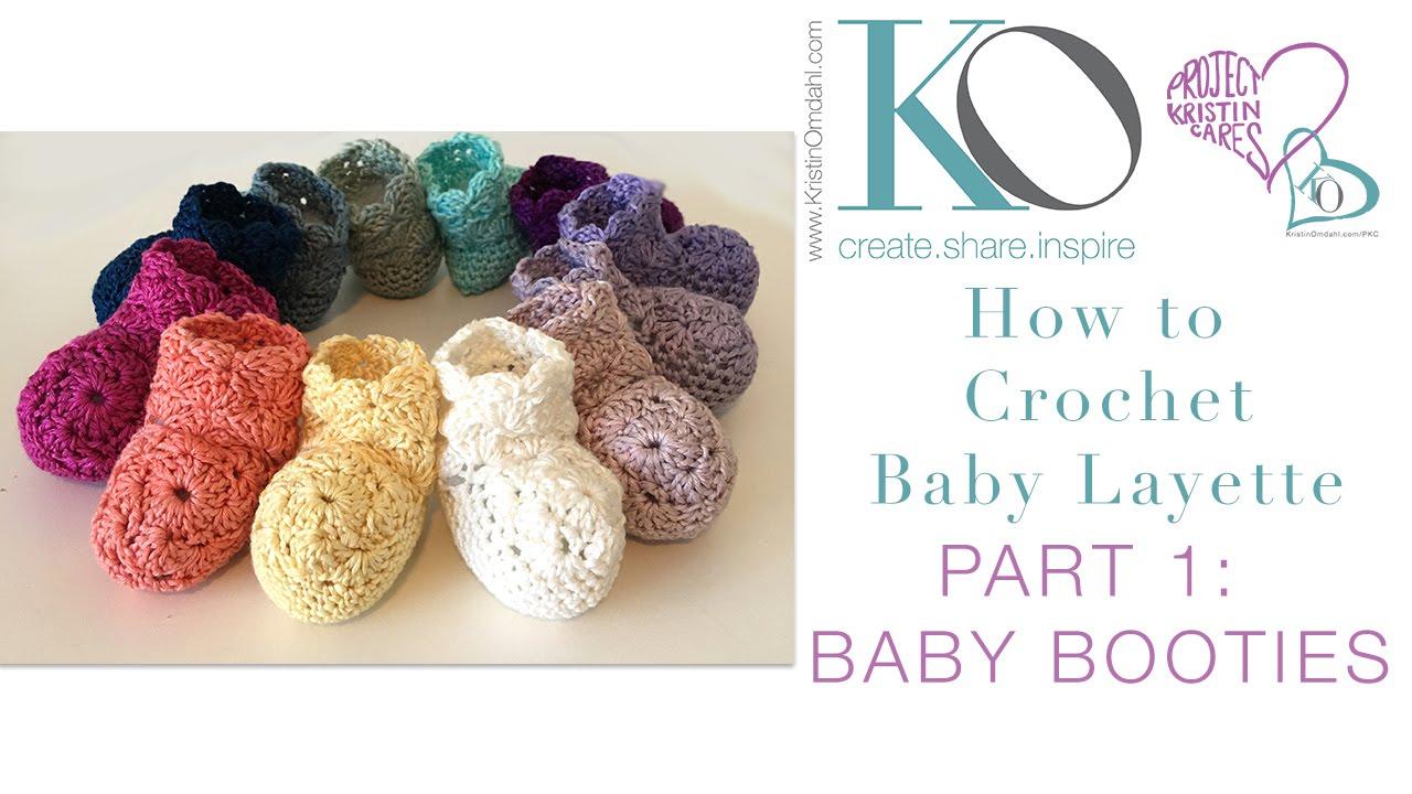 Crochet Layette Part 1: Newborn Baby Booties - YouTube