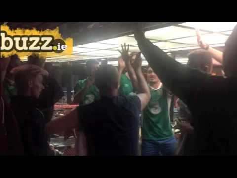 Irish and Northern Irish fans singing on the ferry to France
