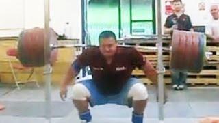 Mikhail Koklyaev - 290 kg barbell trick / Михаил Кокляев - трюк со штангой