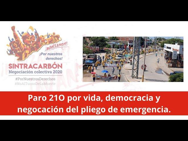 Paro Nacional 21O por vida, democracia y negociación del pliego de emergencia.