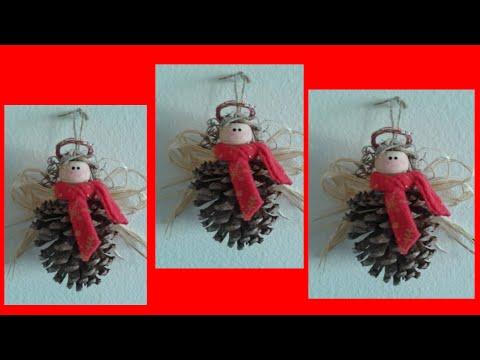 Como elaborar angeles navide os con pi as youtube - Manualidades navidad con pinas ...