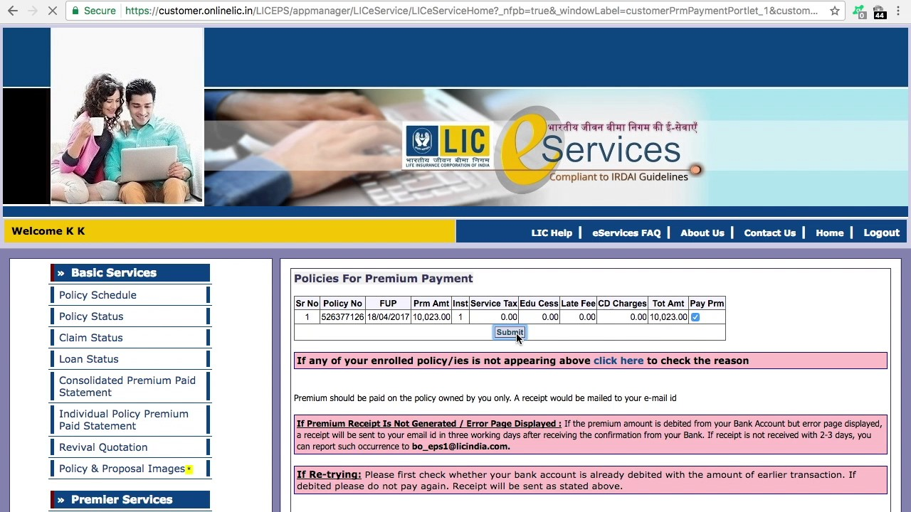 ONLINE LIFE INSURANCE LIC PEMIUM PAYMENT - YouTube