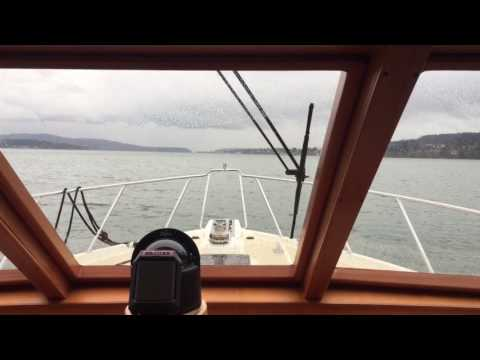 2001 62 Offshore Pilothouse underway. Anacortes