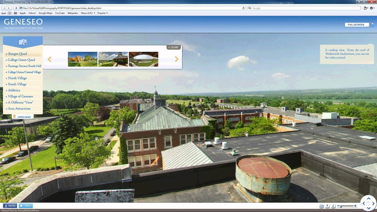 SUNY Geneseo 360 Virtual Campus Tour Demo - YouTube