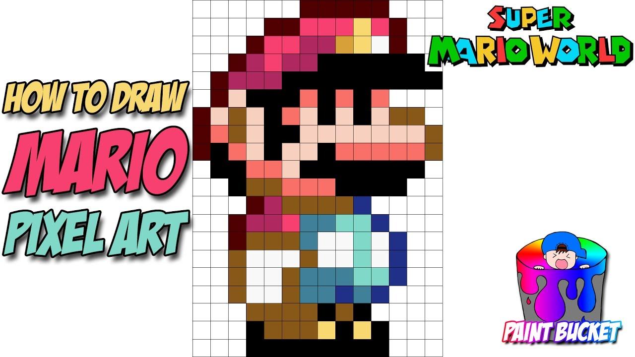 How To Draw Mario From Super Mario World 16 Bit Mario Pixel Art Drawing Tutorial