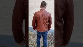 Cognac plus size herre skindjakke - Lammeskind - Moltan video