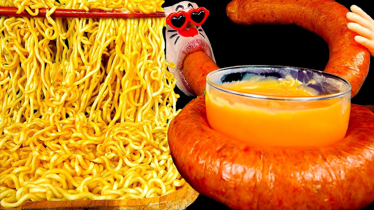 ASMR MUKBANG :) Indonesian 'mi goreng' & Kielbasa Sausage Eating Show!