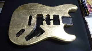 Gold and silver leaf custom decorated Fender Stratocaster guitar bodies
