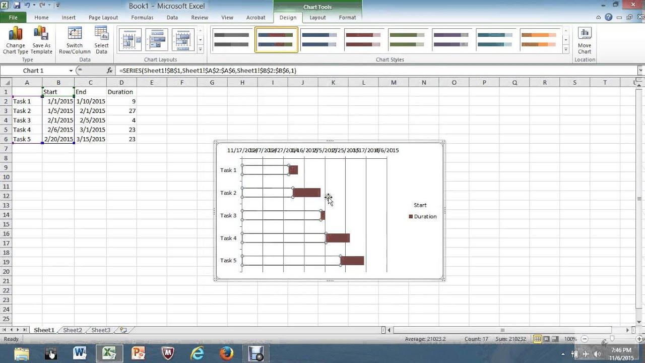 Making a gantt chart from an excel spreadsheet youtube making a gantt chart from an excel spreadsheet nvjuhfo Images