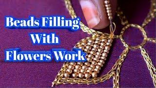 Beads Filling With Flowers Work | Easy Work Tricks | Nakshatra Designers