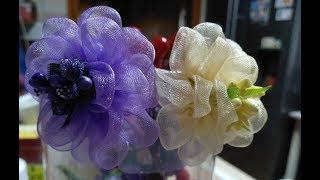 Пышные цветы из органзы/Канзаши/Organza Flower Tutorial/Flores de Organza/Ola ameS DI