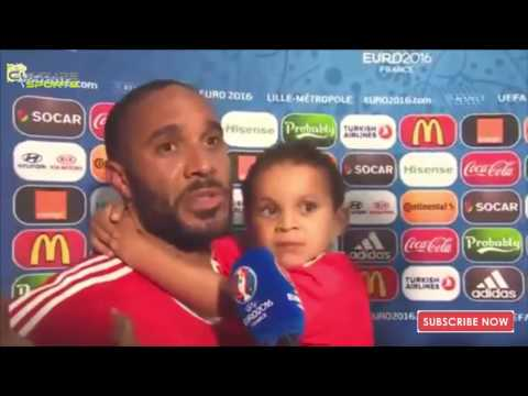 Ashley Williams Post Match Interview With his Kids / Wales 3