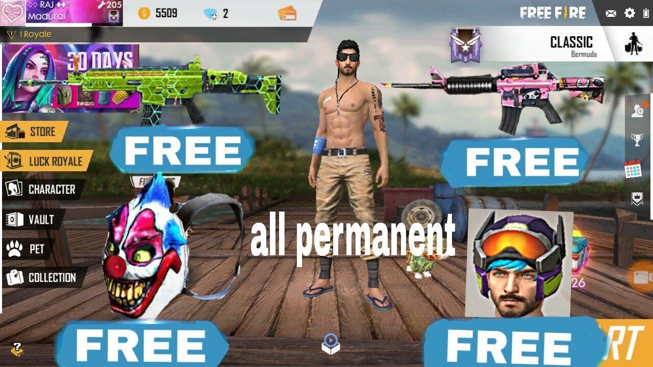 Free Fire Free Guns Skin And Bag Skin Helmet