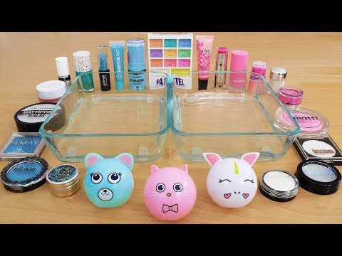 Pink Vs Teal Vs White - Mixing Makeup Eyeshadow Into Slime Special Series 222 Satisfying Slime Video