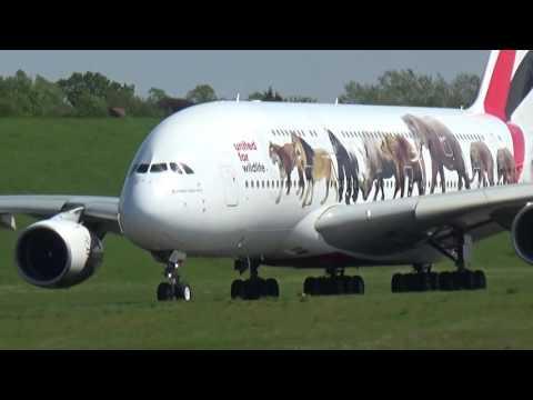 Birmingham Airport, features Emirates A.380.