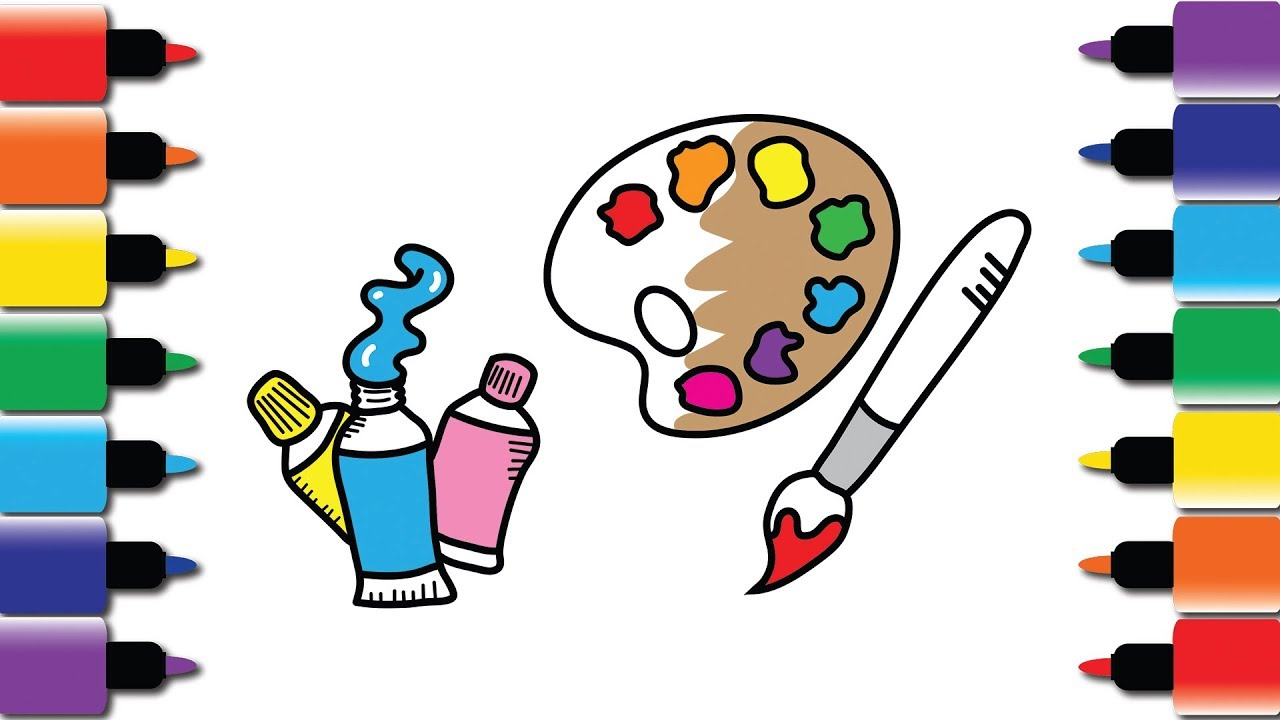 How to draw art supplies drawing and colouring book for kids